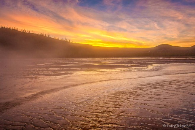 'Sunset Over Grand Prismatic Spring' © Larry A Lyons